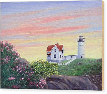 Cape Neddick Sunrise Wood Print by Fran Brooks