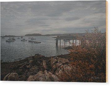 Cape Porpoise Fog Rolls In Wood Print by Bob Orsillo
