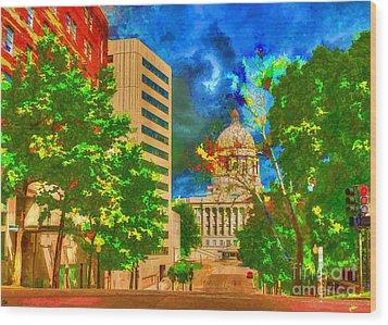 Capital - Jefferson City Missouri - Painting Wood Print by Liane Wright