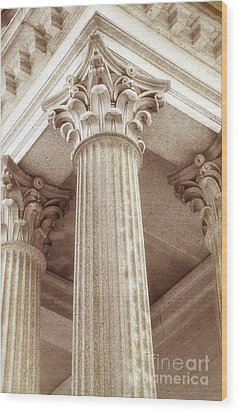 Capital Of The Column Wood Print by Charline Xia