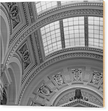 Capitol Architecture - Bw Wood Print by Jenny Hudson
