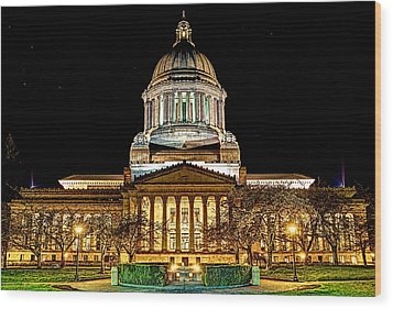 Capitol At Night Wood Print