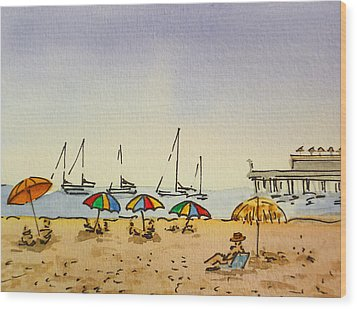 Capitola - California Sketchbook Project  Wood Print by Irina Sztukowski