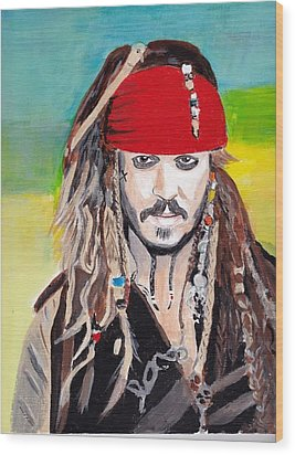 Cap'n Jack Sparrow Wood Print by Audrey Pollitt