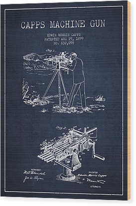 Capps Machine Gun Patent Drawing From 1899 - Navy Blue Wood Print by Aged Pixel