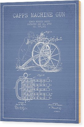 Capps Machine Gun Patent Drawing From 1902 - Light Blue Wood Print by Aged Pixel