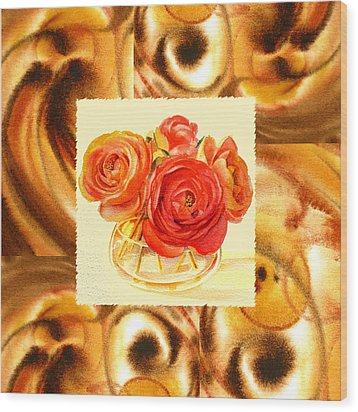 Cappuccino Abstract Collage Ranunculus   Wood Print by Irina Sztukowski