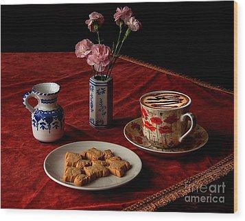 Cappuccino Coffee Wood Print by Donald Davis