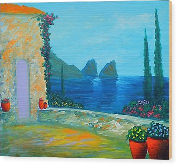 Wood Print featuring the painting Capri Colors by Larry Cirigliano
