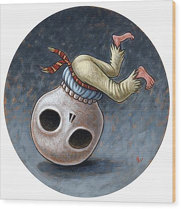 Caprichos Calaveras #1 Wood Print by Holly Wood