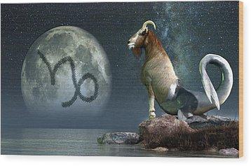 Capricorn Zodiac Symbol Wood Print by Daniel Eskridge