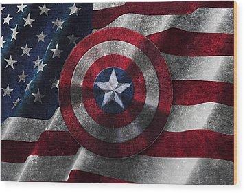 Captain America Shield On Usa Flag Wood Print by Georgeta Blanaru