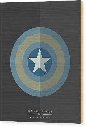 Captain America Winter Soldier Wood Print by Mike Taylor