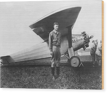 Captain Charles Lindbergh Wood Print by Underwood Archives