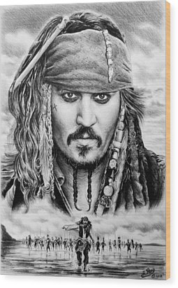 Captain Jack Sparrow 2 Wood Print by Andrew Read