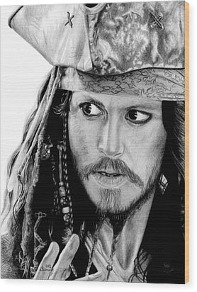 Captain Jack Sparrow Wood Print by Kayleigh Semeniuk