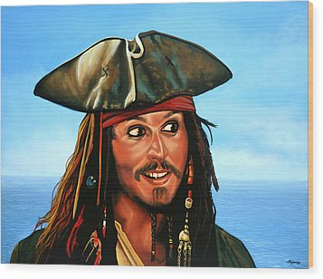 Captain Jack Sparrow Painting Wood Print by Paul Meijering