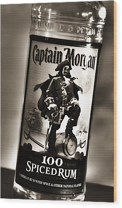 Captain Morgan Black And White Wood Print by Janie Johnson