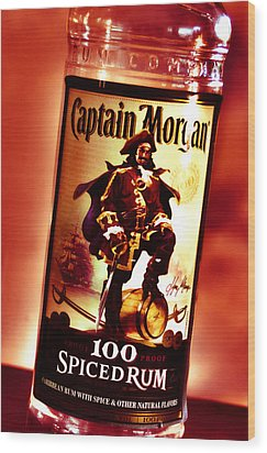 Captain Morgan Red Toned Wood Print by Janie Johnson