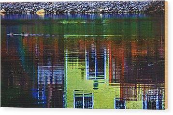 New England Landscape Illusion Wood Print