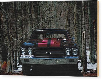 Car Art Chevy Chevelle Ss Hdr Wood Print by Lesa Fine