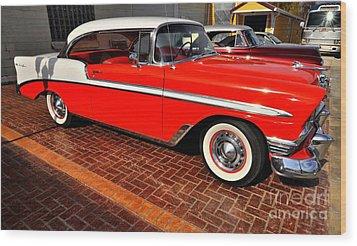 Car - Bel Air - Red Wood Print by Liane Wright