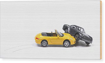 Car Crash Between Sportscar And Sedan Wood Print by Patricia Hofmeester