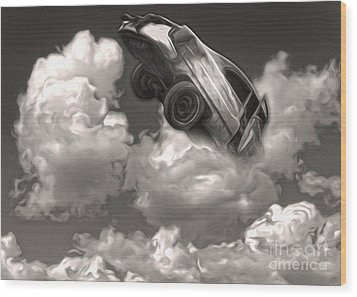 Car Crash In The Clouds Wood Print by Gregory Dyer