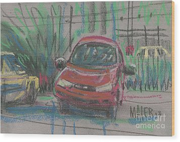 Wood Print featuring the painting Car Crazy by Donald Maier