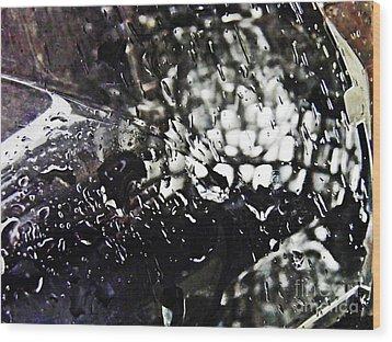 Car Light In The Rain Wood Print by Sarah Loft