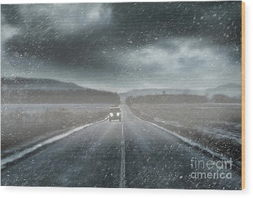 Car On Rural Road In Early Winter Wood Print by Sandra Cunningham