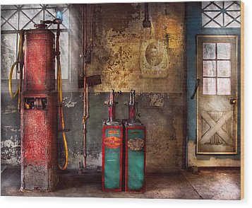 Car - Station - Gas Pumps Wood Print by Mike Savad