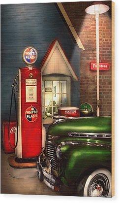 Car - Station - White Flash Gasoline Wood Print by Mike Savad