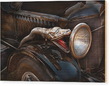 Car - Steamer - Snake Charmer  Wood Print by Mike Savad