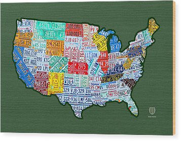Car Tag Number Plate Art Usa On Green Wood Print by Design Turnpike