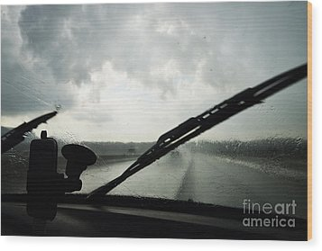 Car Windshield By Heavy Rains On Road Wood Print by Sami Sarkis