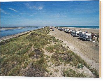 Caravans Aligned On Beach Wood Print by Sami Sarkis
