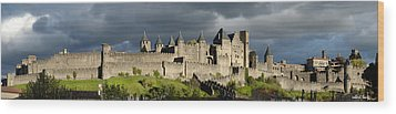 Carcassonne Panorama Wood Print by Robert Lacy