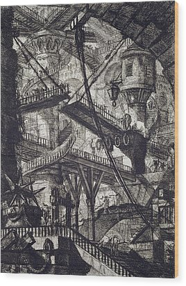 Carceri Vii Wood Print by Giovanni Battista Piranesi