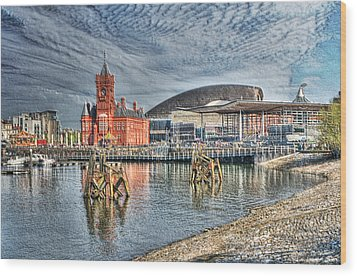 Cardiff Bay Textured Wood Print