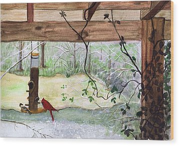 Cardinal-back Porch Picnic Wood Print by June Holwell