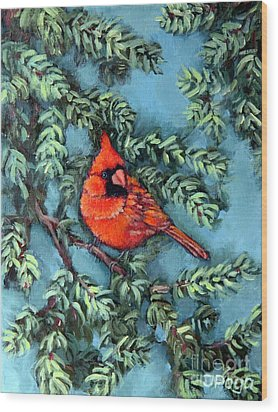 Cardinal In Spruce Wood Print by Inese Poga