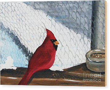 Cardinal In The Dogpound Wood Print by Barbara Griffin