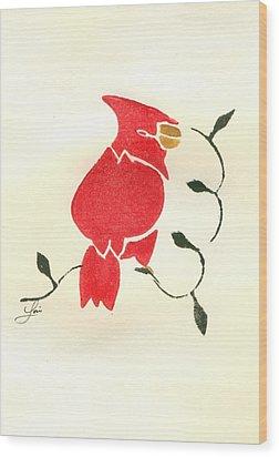 Cardinal Wood Print by Lori Johnson