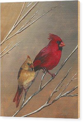 Cardinal Mates Wood Print by Terri  Meyer