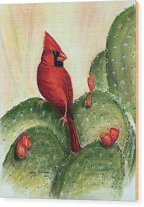 Cardinal On Prickly Pear Cactus Wood Print