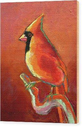 Cardinal On Red Wood Print