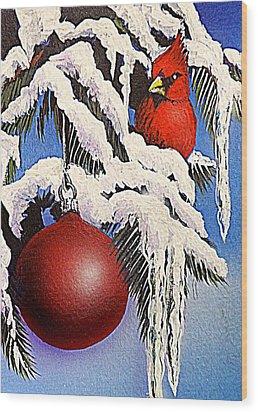 Cardinal One Ball Wood Print