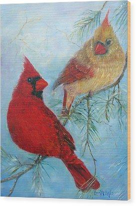 Cardinal Pair Wood Print by Loretta Luglio