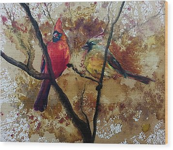 Wood Print featuring the painting Cardinal Redbird Couple by Christy  Freeman